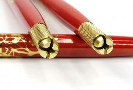 Манипула для микроблейдинга односторонняя для плоских и круглых игл (красная с золотым узором)