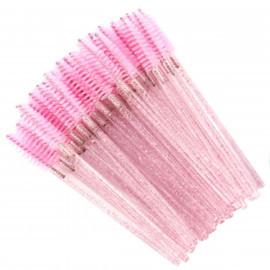 Щеточка одноразовая розовая с блестками (50 шт.)