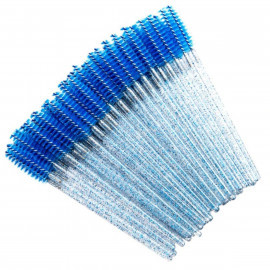 Щеточка одноразовая голубая с блестками (50 шт.)